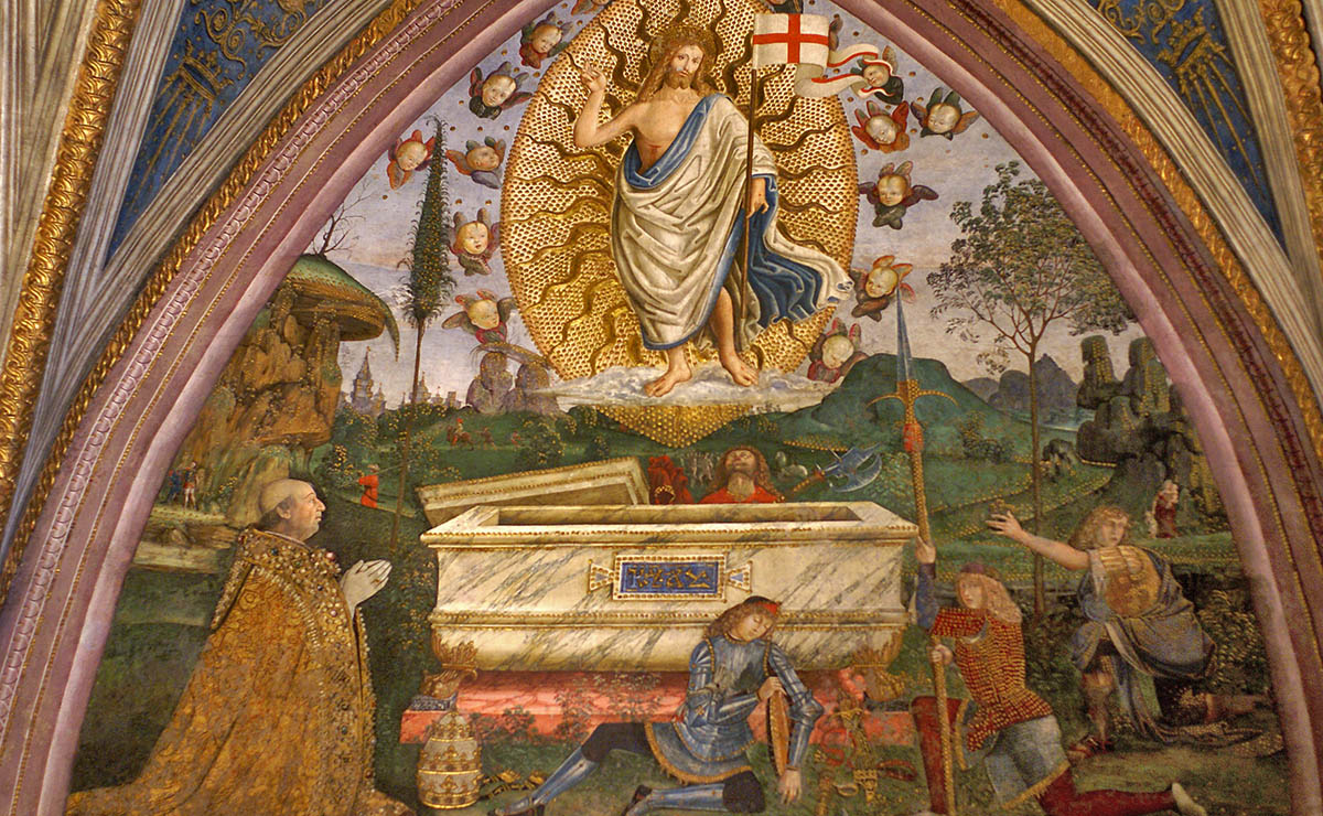 Pinturicchio, escena de la resurrecció, amb un retrat del papa Alexandre. Sala dels Misteris de la fe, apartament Borja del Vaticà.