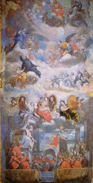 Glorificació de Sant Francesc (Gaspar Huerta), a la Sala Daurada.