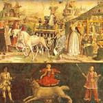 Triomf de Minerva. A l'esquerra grup d'intel·lectuals de la Universitat. El primer a la dreta, Leon Battista Alberti. Mes de març. Schifanoia.
