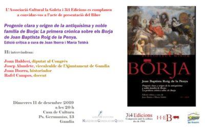 Presentació a Gandia de la primera crònica sobre els Borja
